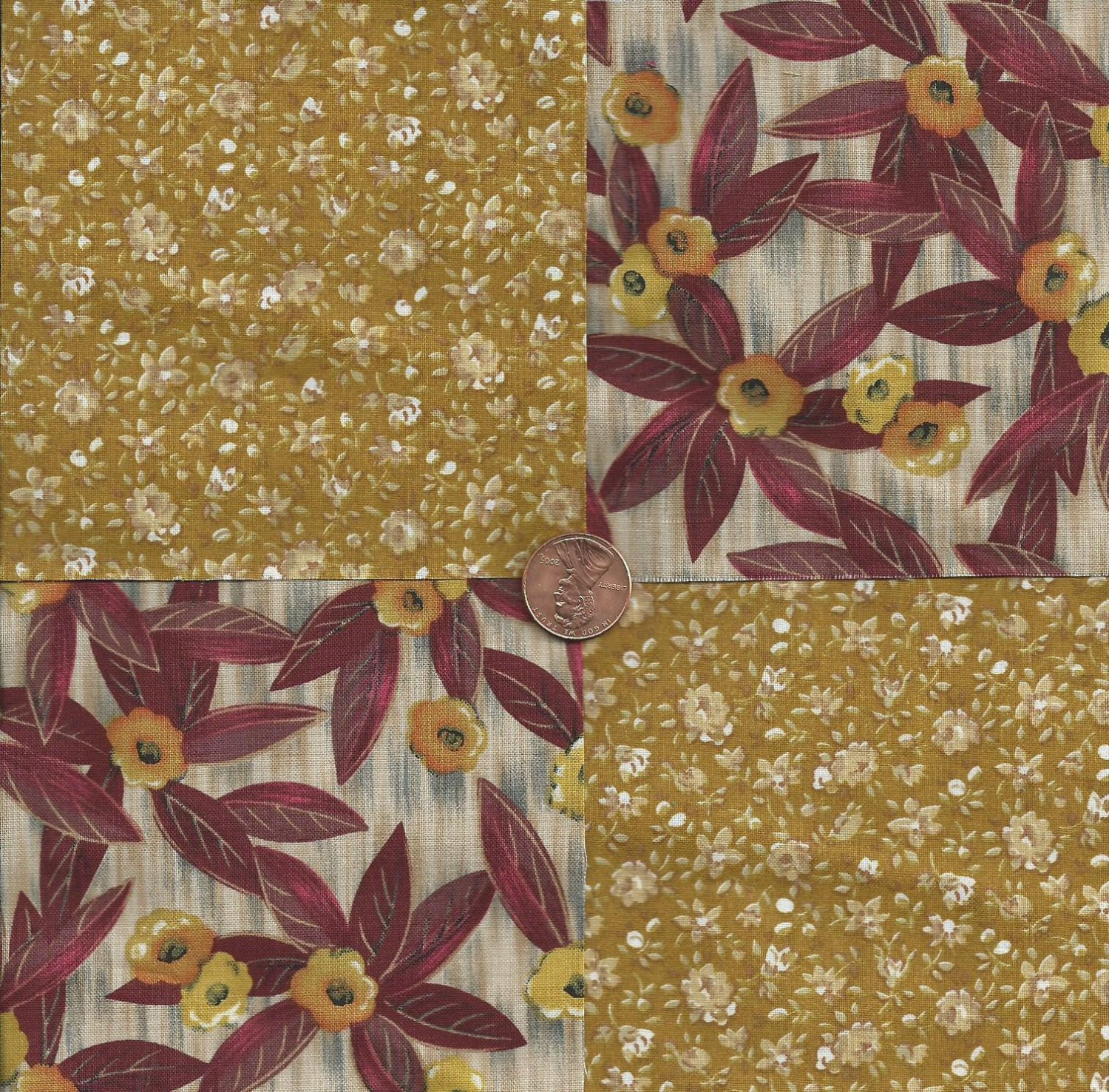 Awesome Gold Flowers  4 inch Cotton Fabric Craft Quilt  Squares  Blocks wz1