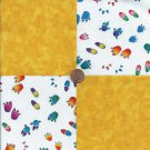 Animal Tracks Paws Prints Yellow 4 inch  100% Cotton Novelty Fabric Squares kW1