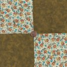 Flowers on Beige Tie Dyed Brown   4 inch 100% Cotton Novely Fabric  Squares FS2