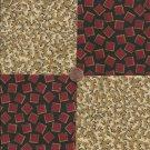 Red Blocks Tan Puzzle Stash  100% Cotton Fabric Quilt Square Blocks  EU