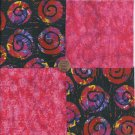 Hot Pink or Red  and Swirls   4 inch 100% Cotton Novelty Fabric  Squares FS2