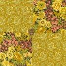 Vintage Antique Look Flowers Gold 100%  Cotton Fabric Squares  Blocks LP1