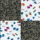 Animal Tracks in Rainbows 4 inch Cotton Fabric Craft Blocks ZK1
