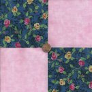 Yellow and Pink Roses  4 inch Cotton Fabric Craft Squares PB1