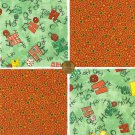Ho Ho Ho Stars and Swirls 4 inch 100% Cotton Novelty Quilt Fabric Squares SO1