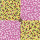Pink Hearts White Swirls Pink  100% Cotton Fabric Quilt Square Blocks  EU