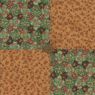 4 inch Flowers Rich Gold Fabric Quilt Squares Craft Kit zd1