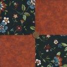 Floral Deco Rust 4 inch Cotton Fabric Quilt Square  Blocks zL1