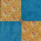 Hint of Blue Golden Floral Bouquet Cotton Fabric Squares PB1