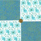 Turquoise Teal Paisley Flowers  4 inch 100% Cotton Novelty Fabric  Squares FK1
