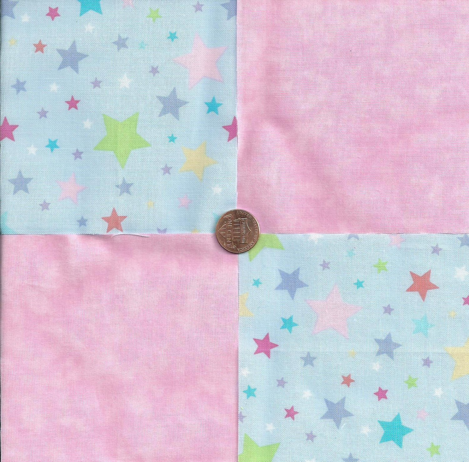 Pastel Stars Pink Solid 100% Cotton Fabric Quilt Square Blocks FT