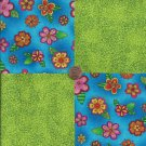 Bright Flowers Green Speckles 100% Cotton Fabric Quilt Square Blocks FT