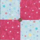 Colorful Stars White Stars Pink 100% Cotton Fabric Quilt Square Blocks kit  EU