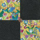 Flowers Garden Squares on Black  4 inch 100% Cotton Novely Fabric  Squares FS2