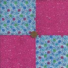 Fushia Flowers 4 inch 100% Cotton Novelty Fabric Quilt Squares Craft kit gd3