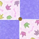 Crown Tiara Princess Medium Lavendar Fabric Quilt Squares Cotton Quilt ms1
