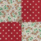 Perky Gold Star Flowers and Dots 4 inch Fabric Squares AW1