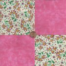 Gold Star Flowers an Pink 4 inch Cotton Fabric Quilt Blocks Squares AW1
