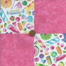 Wax Candy Dots Scottie 4 inch Fabric Quilt Square Novelty  Blocks zL1