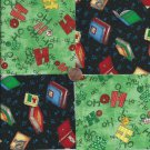 HO HO HO  Library Books on Black  4 inch cotton Novelty Fabric Quilt Squares TC1
