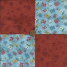 Rust Multi Flower   4 inch Fabric Quilt Squares  Block ZR1