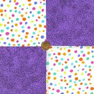 Monster Dots and Purple Specs Novelty Craft Fabric Quilt Square  my8