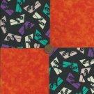 Ghost in Window Orange Fabric Quilt Squares Kit 100% Cotton za1