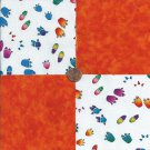 Animal Tracks Paws Prints Orange 4 inch  100% Cotton Novelty Fabric Squares kW1