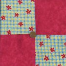 4 inch Daisy Check Multi Red Cotton Fabric Quilt Squares zg1
