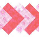 Flower and Ribbons Breast Cancer Awareness Fabric Squares 100% Cotton 1E zy1