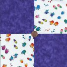 Animal Tracks Paws Prints Purple 4 inch  100% Cotton Novelty Fabric Squares kW1