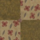 Flowers Florals Brown Rust  100% Cotton Fabric Quilt Square Blocks kit  EU
