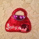 Ruby Red Purse Flower Sequin Beaded Applique Jewelry Fashion Accessory  ZDS2