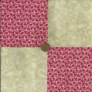 Redwork and Beige 4 inch Fabric Quilt Squares  Ze1