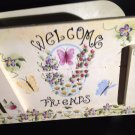 Hand Painted Welcome Wagon Friends Wooden Wheel Barrel Floral tblxs1