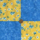 Sunny Blue Floral  4 inch Fabric Quilt Squares Novelty Block ZR1