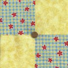 Daisy Check Multi Yellow Cotton Fabric Quilt Squares   zg1