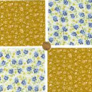 Golden Blue Roses Cotton  Fabric Quilt Novelty Craft  Blocks  RBX2