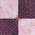 Pink and Purple Flower Medley  4 inch Fabric Squares Blocks AW1