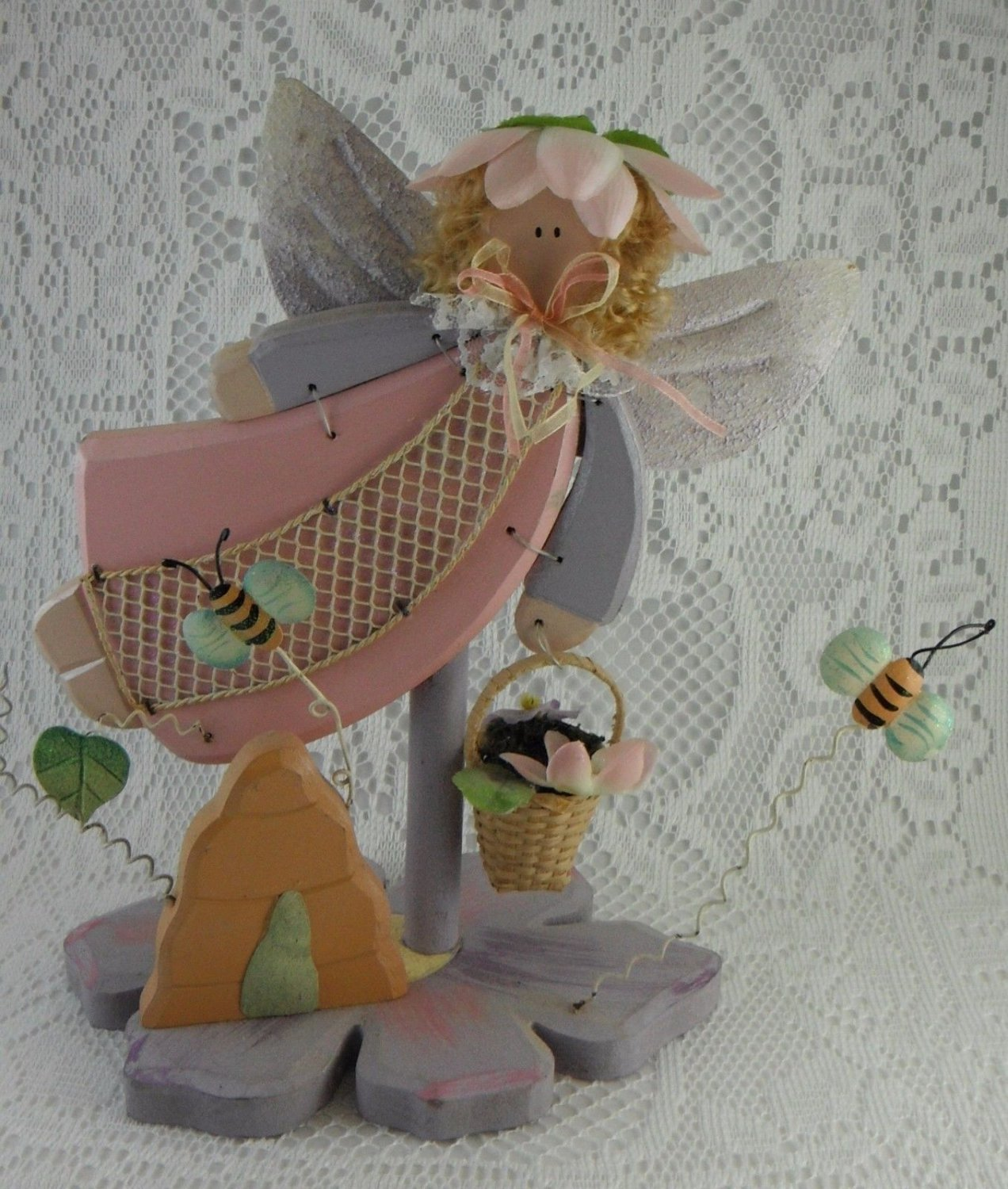 Wooden Guardian Angel and Bee Hive Pink Purple Flower Carrying Basket tblfx1