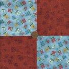Rustic Multi Flowers 4 inch Fabric Quilt Squares  Block ZT1
