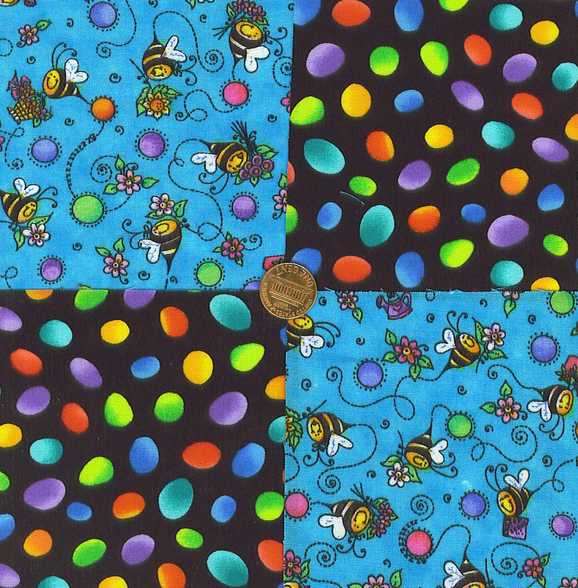 Sweet Smiling Bee Rainbow Dots 100% Cotton Fabric Squares  Blocks my3