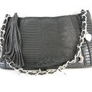 Faux Snake With Charms Hand Bag Purse Black and Silver tblhu1