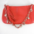 Faux Snake With Charms Hand Bag Purse Red and Silver tblhu1