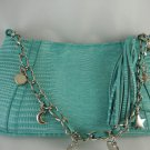Faux Snake With Charms Hand Bag Purse Turquoise and Silver tblhu1