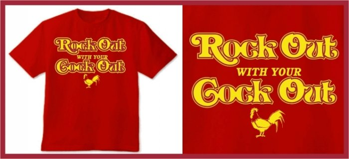 ROCK OUT WITH YOUR COCK OUT T-SHIRT red SMALL