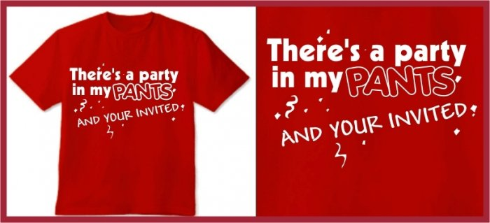 There's a party in my pants Anchorman T-SHIRT red Medium