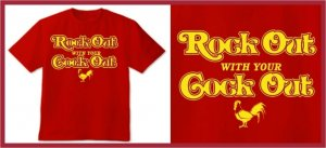 ROCK OUT WITH YOUR COCK OUT T-SHIRT red Large