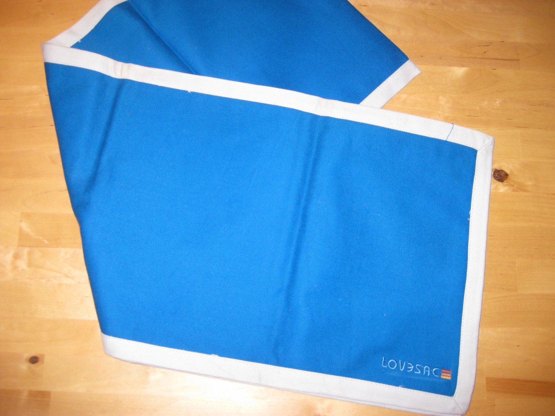 RARE! Original LoveSac Table Runner Bright Blue / Light Blue