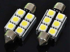 38mm White 6-5050 SMD LED License Plate Dome Light Bulbs - Pair (DC 10~18V)